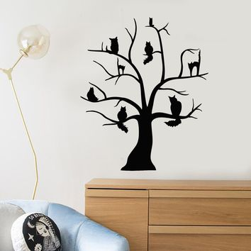 Vinyl Wall Decal Cartoon Wild Cats On Tree Pets Stickers (2421ig)