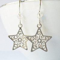 Silver Star Earrings, 925 Sterling Filigree Star Charms, Solid Silver Ear Wires with Swarovski Crystal Accents, Charm Earrings, Gift for Her