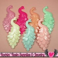 4 pc Large PEACOCK Flatback Acrylic Decoden Cabochons 71x30mm