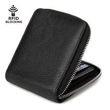 JEEBURYEE RFID Blocking Wallet Leather for Men Zipper Wallet Zip Around Wallet Secure Bifold Wallet