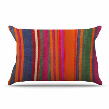 "S Seema Z ""LINE ART"" Orange Multicolor Pillow Sham"