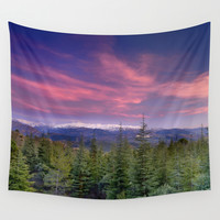 Spring sunset at the mountains Wall Tapestry by Guido Montañés | Society6