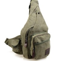 Vere Gloria Canvas Sport Sling Backpack, Multicam Chest Bag, Lightweight Shoulder Strap Fanny Pack, Large Capacity, Leather Trims, Vintage, Casual and Fashion