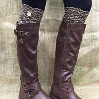 Brown Lace Boot Topper with Button -CLOSEOUT