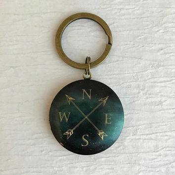 Contemporary Compass Locket Keychain, modern travel hiking camping climbing outdoors nature birthday teacher gifts gift for her him unisex
