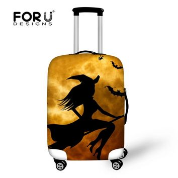 FORUDEASIGNS Travel Luggage Protective Suitcase Cover Halloween Pumpkin Luggage Cover Apply To 18~30 Inch Case Excellent Elastic