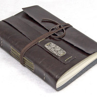 Faux Leather Wrap Journal with Bookmark - choice of 6 colors - 2 paper options -