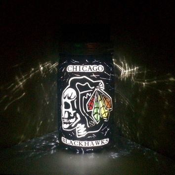 Chicago Blackhawks Mason Jar Light,  Chicago Blackhawks Light, Blackhawks Hockey, Blackhawks Black Ice Nightlight,  Blackhawks Skull Logo