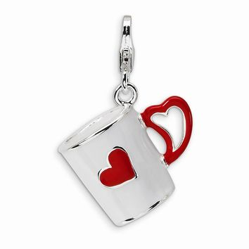 Sterling Silver 3-D Enameled Coffee Cup with Heart w/Lobster Claw Clasp Charm