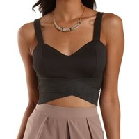 Black Wrapped Elastic Hem Crop Top by Charlotte Russe