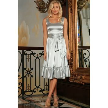 Silver Grey Fit & Flare Ruffle Prom Party Midi Dress With Belt - Women