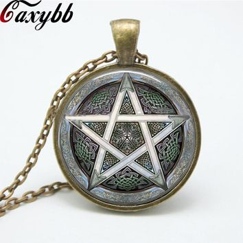 1 pcs gray Pentagram Wicca Pendant Necklace charms Wiccan Jewelry Occult personality glass necklaces pendants FTC-N153