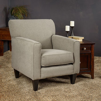Eli Grey Solid Fabric Track Arm Accent Club Chair
