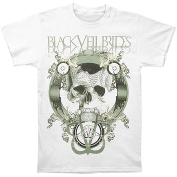 Black Veil Brides Men's  Skull Net Slim Fit T-shirt White