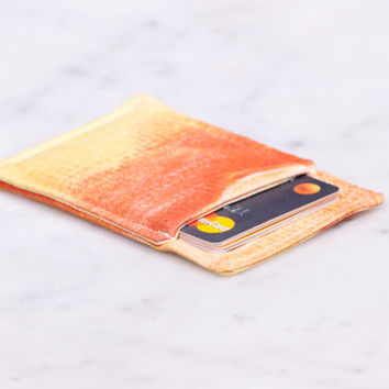 OOAK Thin wallet - Minimalist wallet - Business card holder - Business card case - Slim card wallet - Women and men - Orange Yellow