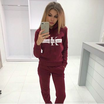 Calvin Klein Fashion Letter Long Sleeve Shirt Sweater Pants Sweatpants Set Two-Piece Sportswear