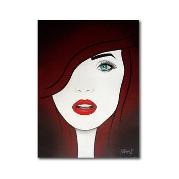 Original fashion illustration on canvas. Canvas art with mixed media.