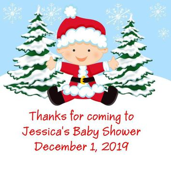 Christmas Baby Shower Favor Tags Red