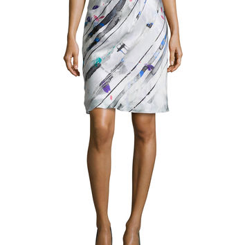 Bias-Cut Silk Skirt with Side Ruching, Size: 8/42, MULTI - Giorgio Armani