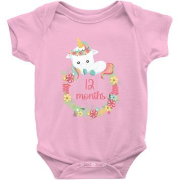 Unicorn Milestone Infant Bodysuit - 12 Months
