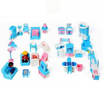 41pcs/set Educational Mini Miniature Furniture Toys Set Roll Play Games Toy Dolls Girls Boys Baby Children Dollhouse