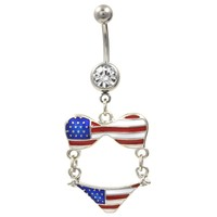 Stars and Stripes USA Bikini Dangle Belly Ring
