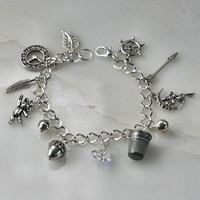 Peter Pan And Wendy and Lost Boys Charm Bracelet in Silver