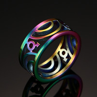 Stainless Steel Rainbow Color Plated Wedding Ring