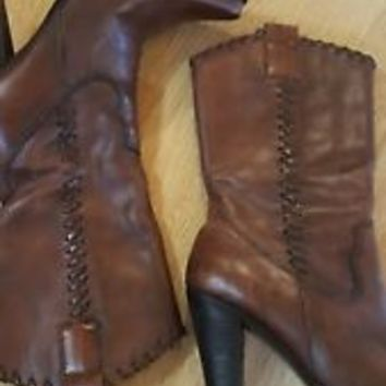 Steve Madden brown Leather Heel Cowboy Western Boots  6.5 M EUC Saloonn Style