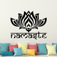 Namaste Wall Decal Lotus Flower Vinyl Sticker Decals Quotes Buddha Decal Quote Wall Decor Bedroom Yoga Studio Decor Lotus Art x202