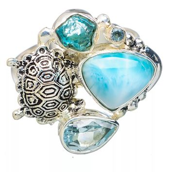 Larimar, Appetite Rough & Blue Topaz Sterling Silver Turtle Ring