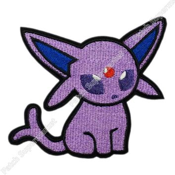 """4"""" Espeon INSPIRED  Go Team logo Iron On Patch HOT Pocket  Embroidered Emblem badge applique Costume CosplayKawaii Pokemon go  AT_89_9"""