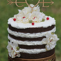 Rustic Initials Arrow Cake Topper - Decoration - Beach wedding - Bridal Shower - Bride and Groom - Rustic Country Chic Wedding