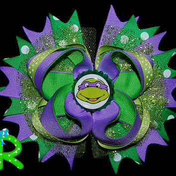 Ninja turtles layered Hair Bow, Donatello boutique bow,TMNT Staked Hair Bow ,Purple Ninja
