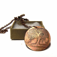 Tree of Life necklace rustic copper necklace