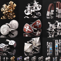 CA2 Crystal Square Round Golden Silver Luxury Vintage Wedding Mens Cufflinks For Shirt