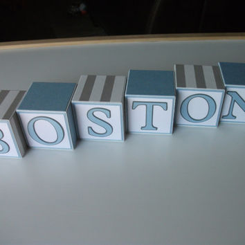 Wooden Name Blocks - Baby Boy - Gray Blue - Stripes