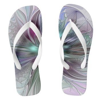Colorful Fantasy, abstract and modern Fractal Art Flip Flops