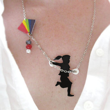 Rainbow Necklace Girl Flying a Kite Black Silhouette Unique Free Shipping