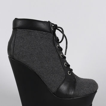 Bamboo Wool Oxford Lace Up Platform Wedge Booties
