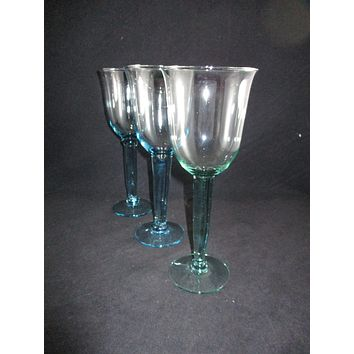 Thick Stemmed Tall Goblets  S/3