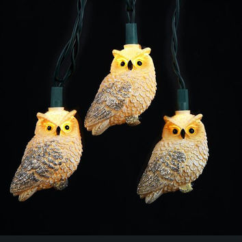 10 Owl Novelty Lights - Color:clear Bulbs