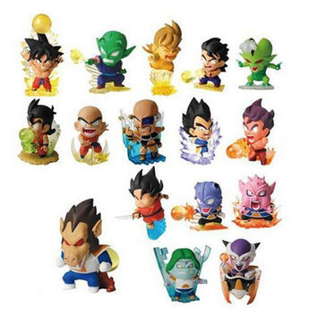 16pcs  figurine Dragon ball z resine figure toys lot 2016 New 5cm Q version super saiyan 3 goku vegeta  figuras 80's