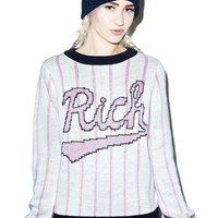 Joy Rich Baseball Field Knit Crewneck Pink
