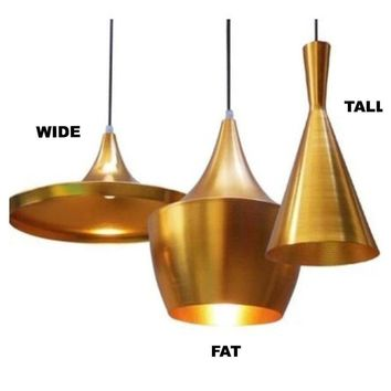Modern Gold Reproduction Tom Dixon Beat Shade Tall Pendant Lamp Ceiling Light