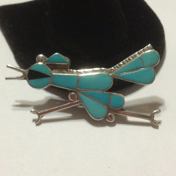 Turquoise Sterling Roadrunner Pendant Pin Brooch DAA Onyx Blue Stones Silver Zuni Tribal Southwestern Vintage Jewelry Inlay Inlaid Gift Bird