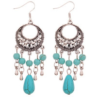 Yazilind Jewelry Unique Design Tibetan Silver Flower Pattern Turquoise Dangle Earrings for Women (Color: Green) = 1946774980