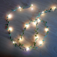 Green Leaves Wire LED Fairy String Lights - 2m / 3m - Battered Operated Indoor Bedroom Wedding Forest Woodand Leaf Vine