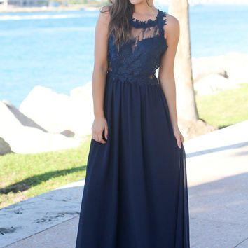 Navy Maxi Dress with Lace Top