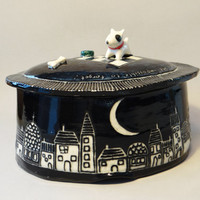 Year of the Dog porcelain box, keepsake box, lidded jar, keepsake urn, stash jar, ceramic jewelry box, box with dog, black and white box
